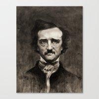 edgar allan poe Canvas Prints featuring EDGAR ALLAN POE by Jason Seiler