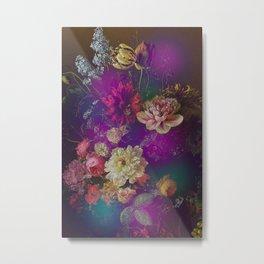 Happy Colorful Vintage Flowers Metal Print