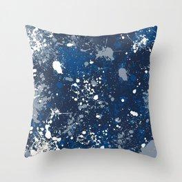 Blue Splatter Pattern Throw Pillow