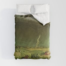 The Line Storm - Thunder and Lightning on the American Plains by John Steuart Curry Comforters