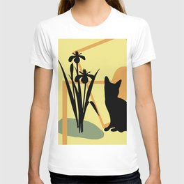 abstract daffodils flower black Cat T-shirt