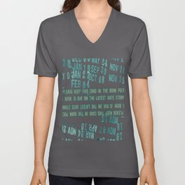 Library Date Stamp Please Keep This Card Design Unisex V-Neck