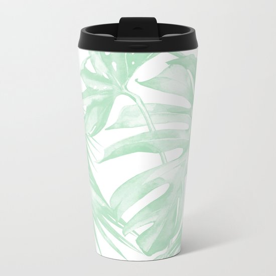 Light Green Tropical Palm Leaves Print Metal Travel Mug