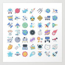 CUTE OUTER SPACE / SCIENCE / GALAXY PATTERN Art Print