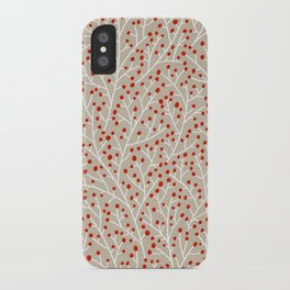 Red & White Berry Branches iPhone Case