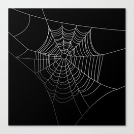 Spider Web Art | Halloween Collection | Spooky | Scary | Vector Art | Black and White Canvas Print