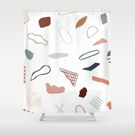 Terracotta composition - white background #722 Shower Curtain