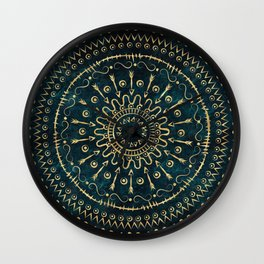Geometric tribal gold mandala Wall Clock