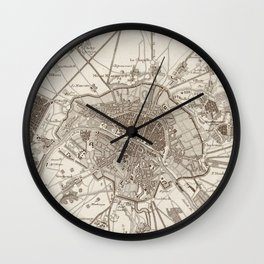 Vintage Map of Paris France (1805) Wall Clock