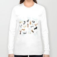 westie Long Sleeve T-shirts featuring Raining Cats & Dogs by Anne Was Here