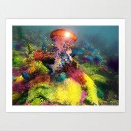 Jellyfish Reef Art Print