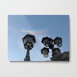 Rainbow and Lamp post Metal Print