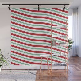 Red White and Green Christmas Candy Cane Pattern Wall Mural