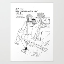 Stuck On the Bus (Right Page) Art Print