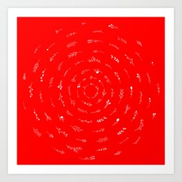Minimalist Spring Floral Cyclone (White on Red) Art Print