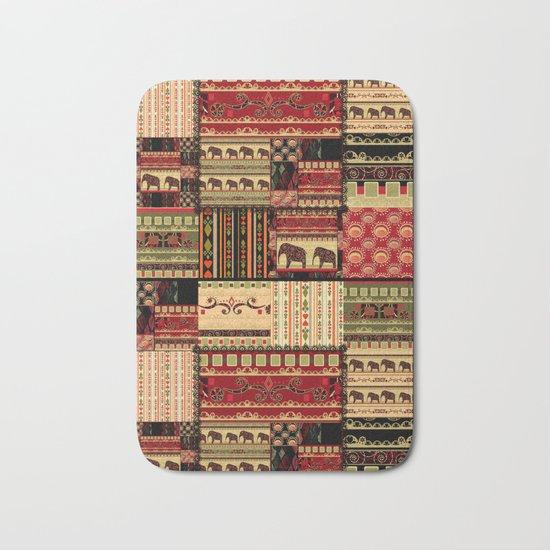 African motifs . Patchwork Bath Mat