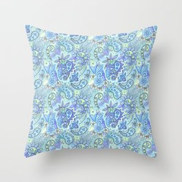 Blue paisley Throw Pillow