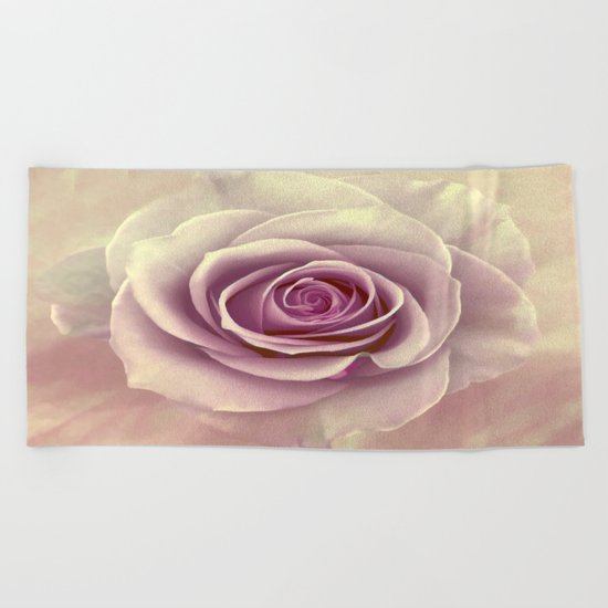 Tea Rose Painterly Abstract Beach Towel