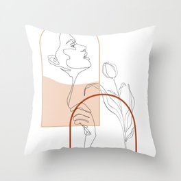 Line Art Drawing Woman Face Abstract Minimal Floral Lines Arch Design Throw Pillow