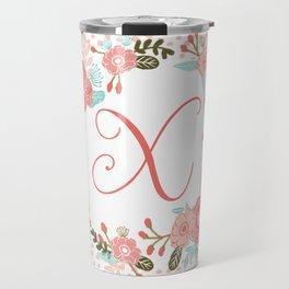 Monogram X - cute girls coral florals flower wreath, coral florals, baby girl, baby blanket Travel Mug