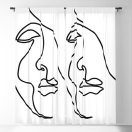 Abstract minimalistic continuous line drawing Blackout Curtain