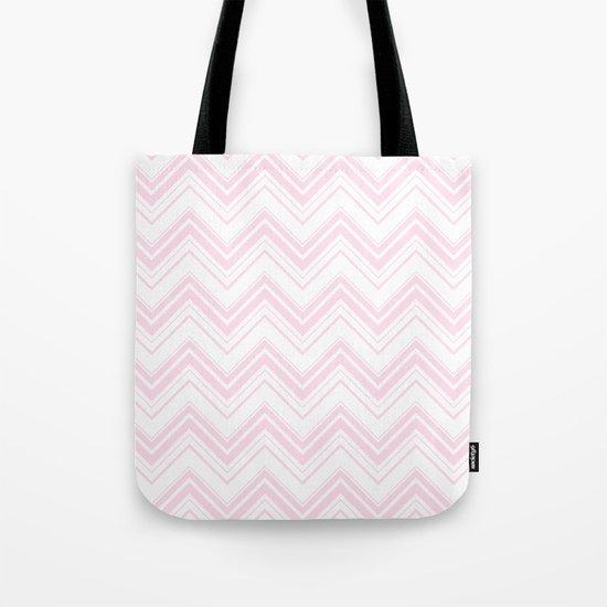 Chevron Zig Zag pattern pink on white on #Society6 Tote Bag