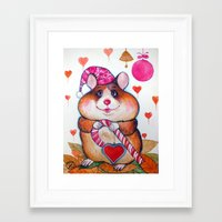 hamster Framed Art Prints featuring HAMSTER by oxana zaika