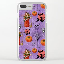 Vintage Halloween Pattern Clear iPhone Case