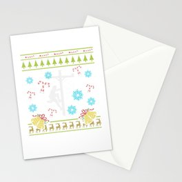 Lineman Christmas Ugly Sweater Design Shirt Stationery Cards