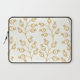 Golden floral pattern on cream Laptop Sleeve