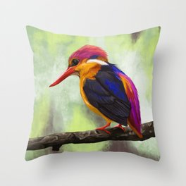 Bird Portrait: Oriental Dwarf Kingfisher Throw Pillow