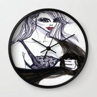 cara Wall Clocks featuring Cara by Kim Ly