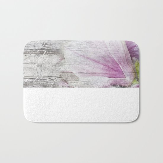 Magnolia Flower  on old wood Bath Mat