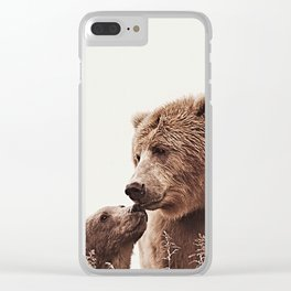 Woodlands Nursery Decor, Bear Mother Print, Baby Bear Print Clear iPhone Case