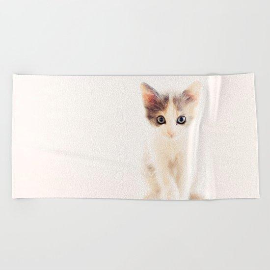 White and Grey Kitten Beach Towel