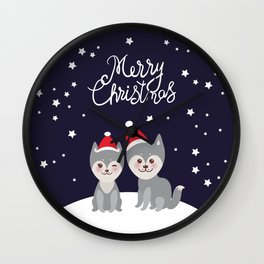 Merry Christmas New Year's card design funny gray husky dog in red hat, Kawaii face with large eyes Wall Clock