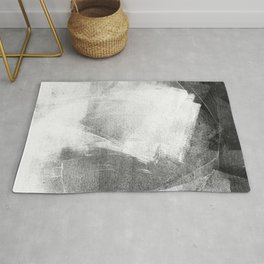 Black and White Ethereal Minimalist Abstract Painting Rug