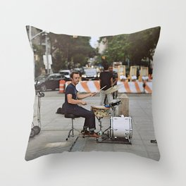 Drummer in the Park Throw Pillow