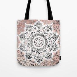 Dreamer Mandala White On Rose Gold Tote Bag
