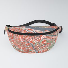 Amsterdam city map classic Fanny Pack