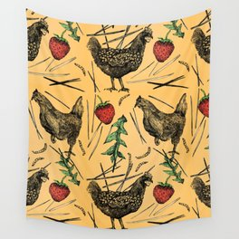 Charming Chickens Wall Tapestry