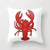 lobster Throw Pillows featuring Lobster by Fischer Fine Arts
