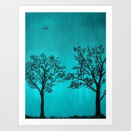 Teal Silhouette Art Print