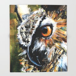 Great Horned Owl. wildlife. nature. bird. owl. Throw Blanket