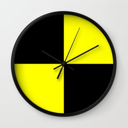 Bright Fluorescent Yellow Neon & Black Checked Checkerboard Wall Clock
