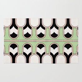 Vintage Mint Green Assyrian Pattern with a hint of Art Deco Rug