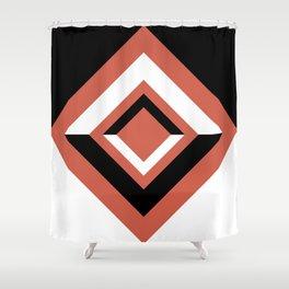 Pantone Living Coral, Black and White Geometric Shapes, Diamond Minimal Illustration Shower Curtain
