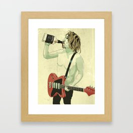 Guitarist with Telecaster drinking whiskey, JD Framed Art Print