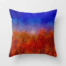 Night on fire Throw Pillow