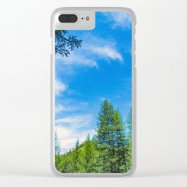 Siberian mountain taiga, mountains in the clouds, Altai Clear iPhone Case